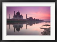 Framed Taj Mahal From Along the Yamuna River at Dusk, India