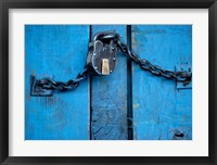 Framed India, Ladakh, Kargil, Padlock on blue door
