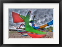 Framed Outrigger boats, called jukungs, on beach, Bali, Indonesia