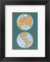 Framed Map of the World's Hemispheres, two views