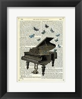 Framed Piano & Butterflies
