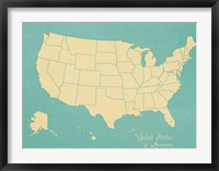 USA Map (blue) Framed Print