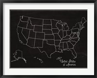 USA Map (chalk) Framed Print