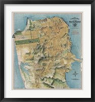 Framed Map of San Francisco, California, 1912