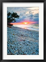 Framed Gili Islands, Indonesia, Sunset along the beach
