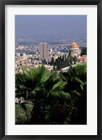 Framed Haifa Cityscape from Bahai Dome, Israel