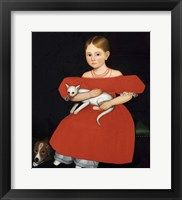 Framed Girl in Red Dress with Cat and Dog, 1830-1835
