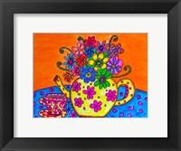 Framed Tea Pot Of Flowers