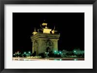 Framed Patuxai (Arch of Triumph) at Night, Luang Prabang, Laos