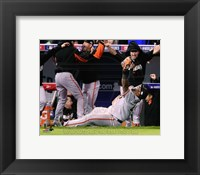 Framed Pablo Sandoval Celebrates the final out Game 7 of the 2014 World Series