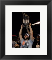 Framed Madison Bumgarner with the World Series Championship Trophy Game 7 of the 2014 World Series