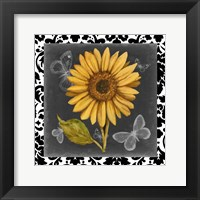 Framed Ornate Sunflowers I