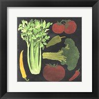 Blackboard Veggies III Framed Print