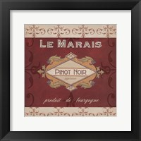 Burgundy Wine Labels I Framed Print