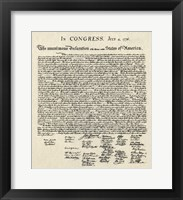 Framed Declaration of Independence Doc.
