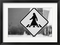 Framed Qatar, Ad Dawhah, Doha. Arabian Pedestrian Crossing Sign / Al-Corniche Street