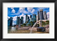 Framed Merlion, symbol of Singapore, and downtown skyline in Fullerton area of Clarke Quay.