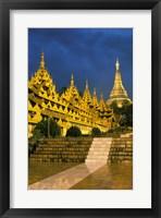 Framed Asia, Myanmar, Yangon. Shwedagon Pagoda at night.