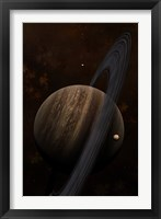 Framed Artist's concept of a ringed gas giant and its moons