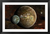 Framed system of extraterrestrial planets and their moons