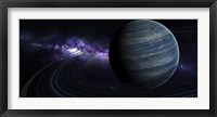 Framed Artist's concept of a blue ringed gas giant in front of a galaxy