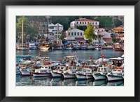 Framed Old Harbor and boats in reflection Antalya, Turkey