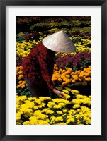 Framed Gardens with Woman in Straw Hat, Mekong Delta, Vietnam