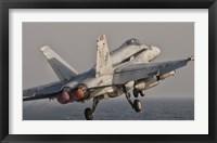 Framed F/A-18C Hornet Taking Off from USS George HW Bush