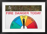 Framed Fire Danger Warning Sign, Queensland, Australia