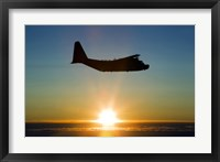 Framed Silhouette of a MC-130H Combat Talon at Sunset, East Anglia, UK