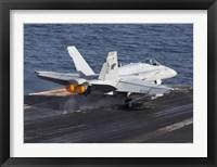 Framed F/A-18C Hornet Taking Off from the USS Dwight D Eisenhower