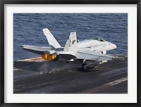 Framed F/A-18C Hornet Taking Off from the USS Dwight D Eisenhower