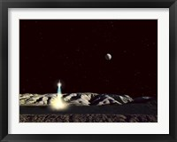 Framed Moonship Lifts Off from the Lunar Hills