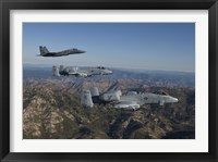 Framed F-15 Eagle and Two A-10 Thunderbolts, Central Idaho