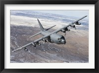 Framed MC-130 Aircraft Manuevers over New Mexico