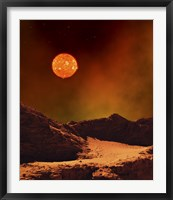 Framed Rugged Planet Landscape Dimly Lit by a Distant Red Star