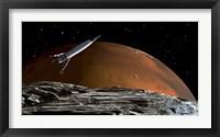 Framed Spaceship in Orbit over Mars Moon, Phobos