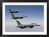 Framed Three F-16's fly in Formation over Arizona