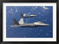 Framed Two F-22 Raptors During a Training Mission