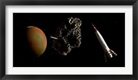 Framed Two 1950's Styled Spaceships Near Mars and its Moon Deimos