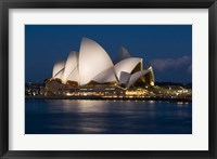 Framed Australia, Sydney Opera House at night on waterfront