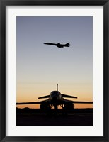 Framed B-1B Lancer Takes Off at Sunset from Dyess Air Force Base, Texas