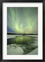 Framed Aurora Borealis over a creek, Yukon, Canada