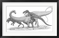 Framed Group of Allosaurus Attack a giant Diplodocus
