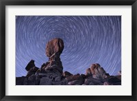 Framed Star trails around the Northern Pole Star, Arches National Park, Utah