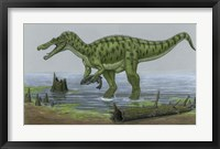 Framed Baryonyx Walkeri Catches a Fish