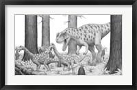Framed Ceratosaurus Chasing Young Apatosaurus Dinosaurs