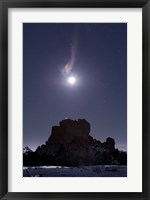 Framed Moon Diffraction over Malpais Monument Rock, New Mexico