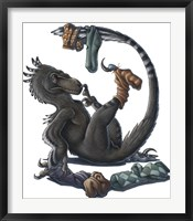 Framed Deinonychus Dinosaur Playing with Socks