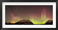 Framed Red Aurora Borealis and Milky Way over Carcross Desert, Canada
